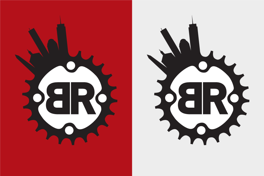 Final logo for Boston Rickshaw in on red and on grey