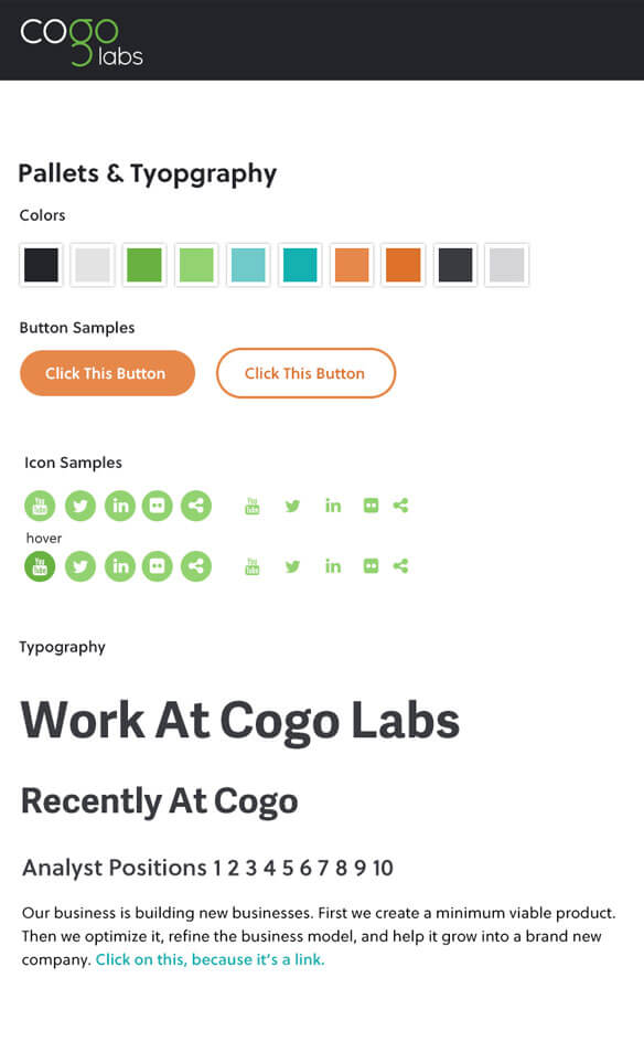 early version of the Cogo Labs style guide