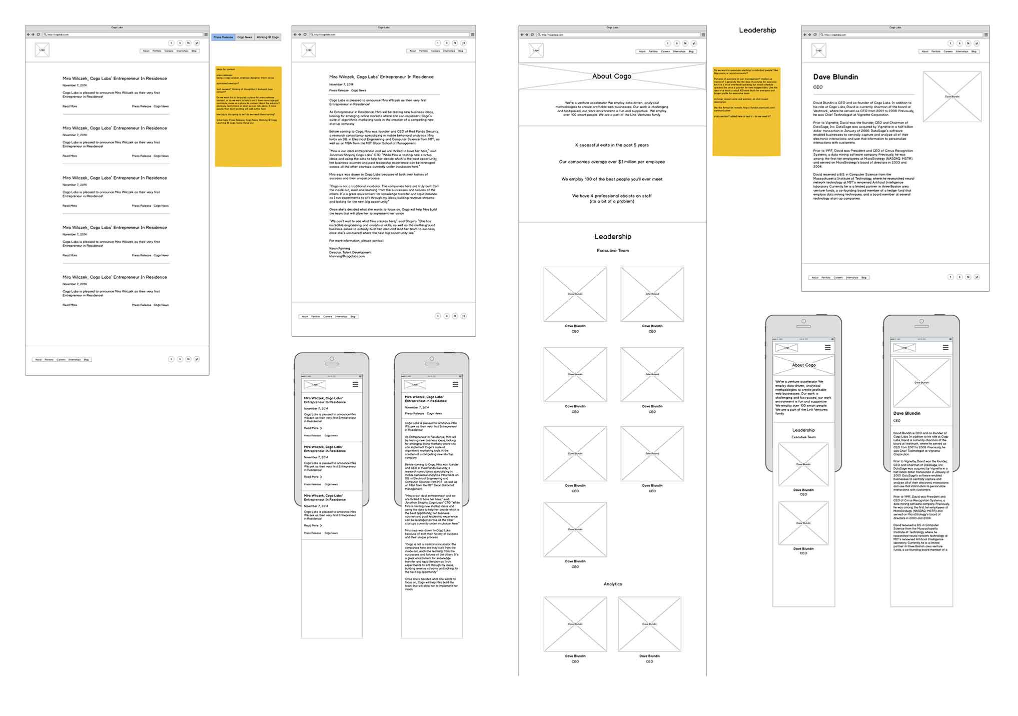 early wireframes for the new Cogo Labs about and blog sections