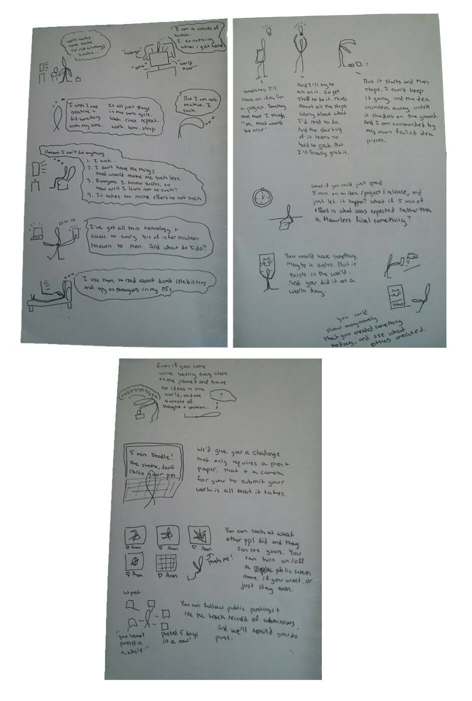 sketches ofinitial thoughts and user story