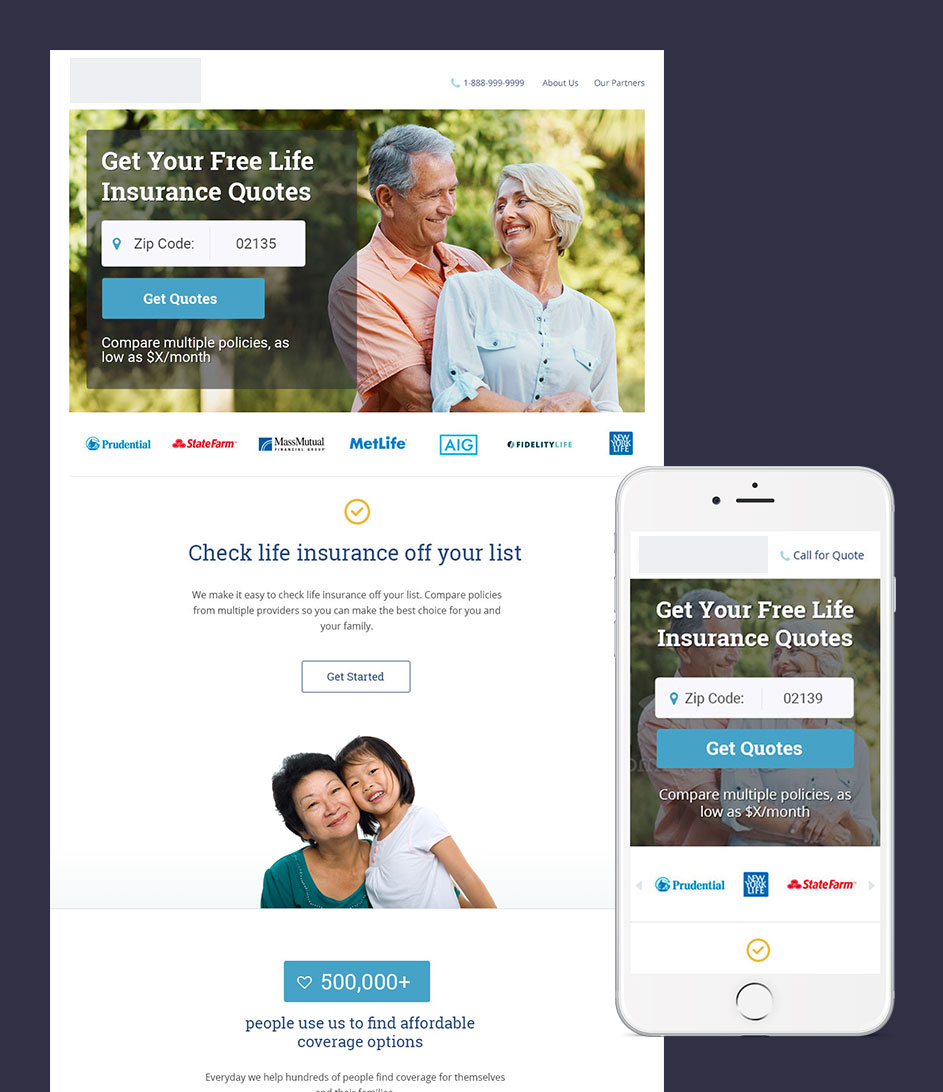 redesigned hero treatment for new life insurance site